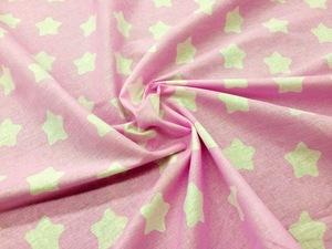 Наволочка с ластовицей U 350х35 бязь звезды на розовом