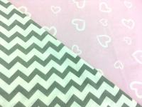 Наволочка U 350х35 двусторонняя бязь сердечки розовые-зигзаг серый