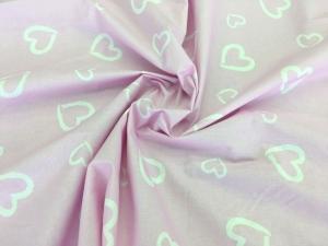 Наволочка U 350х35 бязь сердечки на розовом