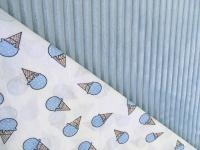 Наволочка U 350х35 плюш королевская полоска голубая, бязь мороженки