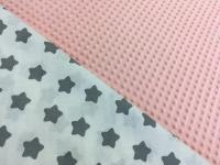Наволочка U 350х35 плюш минки розовый, бязь серые звезды