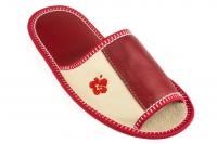 Домашние тапочки кожаные Рапана 8 (арт. 513094-красные)