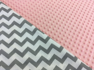 Наволочка U 350х35 плюш минки розовый, бязь зигзаг серый
