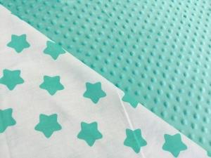 Наволочка U 350х35 плюш минки мятные, бязь звезды мятные
